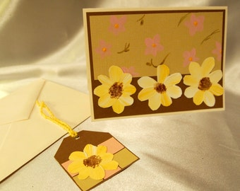 Handmade Painted Just Because Card and Gift Tag Set