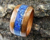Wood Ring Brazilian Cherry with Lapis Lazuli and Silver Inlays Bentwood