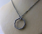 Round Pendant Sterling Silver Oxidized Necklace Rustic Circle Twisted Organic Hammered Braid Eternal Bohemian Silver Pendant Circle Necklace