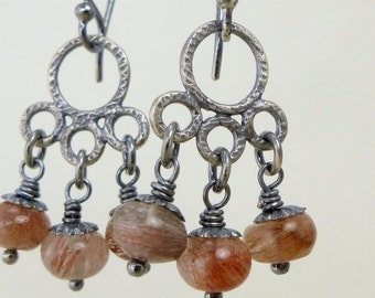 Rust Quartz Earrings, Sterling Silver, Dangle Chandelier, Earth Rust Brown Red, Oxidized Earrings, Silver Earring, Rustic Jewelry, Textured