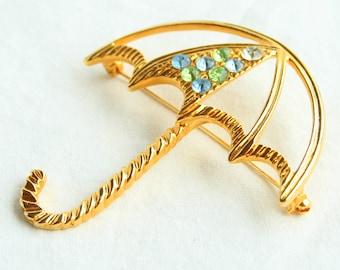Umbrella Brooch Vintage Goldtone Blue Green Rhinestones Umbrella Figural Pin