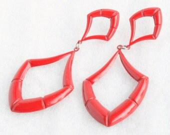 Large Red Dangle Earrings Pierced Vintage Long Red Metal Triangles