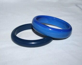 Blue Bangle Bracelets Set VintageTwo Wide Bracelets
