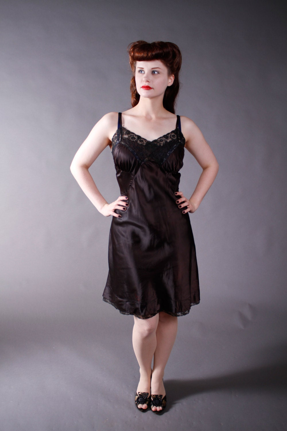 1950s Vintage Slip Black Satin Barbizon Slip With Lace