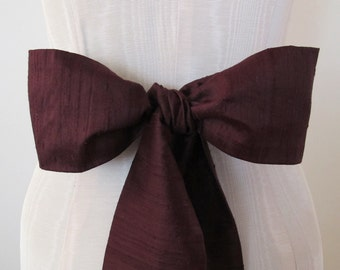 Wedding Sash, Bridesmaid Sash, Bow Sash, Brown Silk Sash, longer length