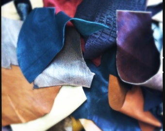 1/2 a  pound Lambskin soft  Leather Remnants (great pieces) ,earthy colors plus surprises, hand selected