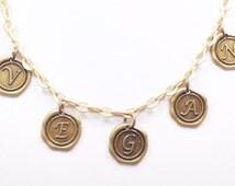 VEGAN necklace in antique gold letters with antique gold chain