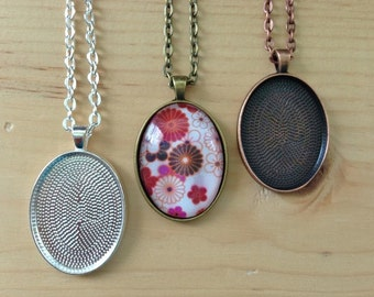 40pk... Oval Pendant Trays with Oval Glass Tiles...22 x 30mm.. Mix and Match Colors