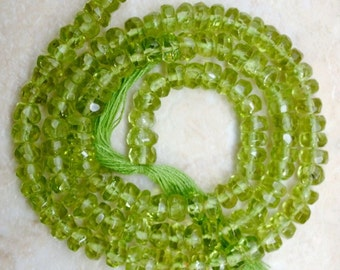 "Deep Green PERIDOT 4-5mm Faceted Rondelle Gemstone Beads 13.5-14"" Strand ETSY-A"