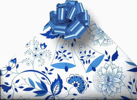 Wedding Gift Wrapping: 1980s Wedding Gift Wrapping Paper Blue Floral By RecycledWares