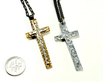 Fashion cross pendant. Old West Cowboy Style Cross Necklace. Handmade Christian jewelry.