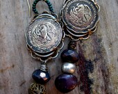 Sale EarringsRasputins Lover Vintage Brass Mexican Coin Purple Teal Assemblage Mixed Media