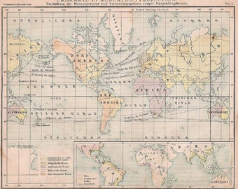 Antique 1874 Map of the World and Europe In German Language