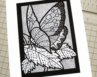 Zentangle Black & White Butterfly, Pen and Ink Illustration, 5x7, Original, OOAK, One of a Kind, Doodle, Tangles, Patterns