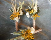 Dried flower boutonniere made with Wheat, Tansy and Oats.  For your fall wedding.