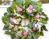 Pink Peony Spring wreath, Pink and White Wreath, Pink and Blue Wreath, Dried Flower wreath,  spring wreath