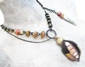 Mist and Music. Rustic victorian tribal mosaic pod necklace with pyrite gemstones.