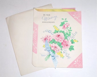 Vintage Anniversary Card - Unused Flower Card with Envelope - Vintage Greeting Card - Old Card - Collectible Card - Anniversary Card