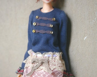 jiajiadoll blue glod buttons T shirts for Momoko and misaki or Blythe