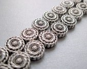 Antiqued Silver Plated Coin Beads - Fancy Carved Design - 10mm - 7 Beads