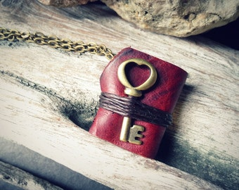 MiniatureBook Necklace Key with Love and Burgundy Color leather.