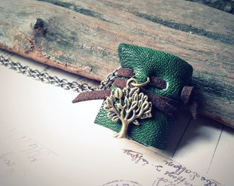 MiniatureBook Necklace Tree & Dark green color leather