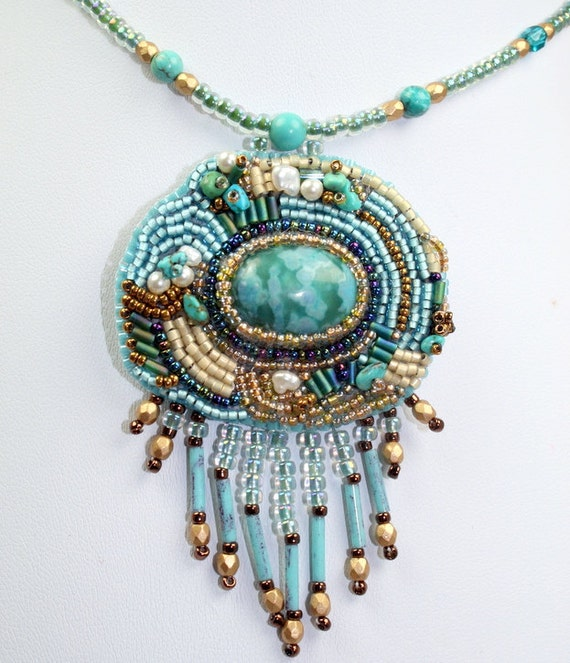 Bead embroidered blue turquoise necklace handmade artisan