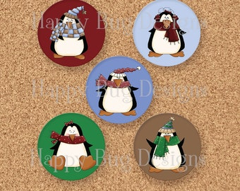 "CLOSEOUT SALE Penguin Magnet Set of 5 Magnets 1.25"" 1-1/4 inch"