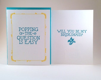 Will You Be My Bridesmaid Letterpressed Card (individual card)