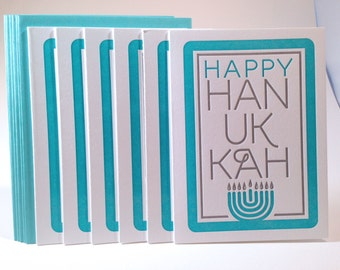 6 Pack Letterpress Hanukkah Card