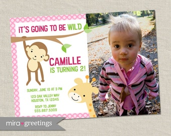 Girl Jungle birthday party invitation - safari party invite - with giraffe and monkey (Printable Digital File)