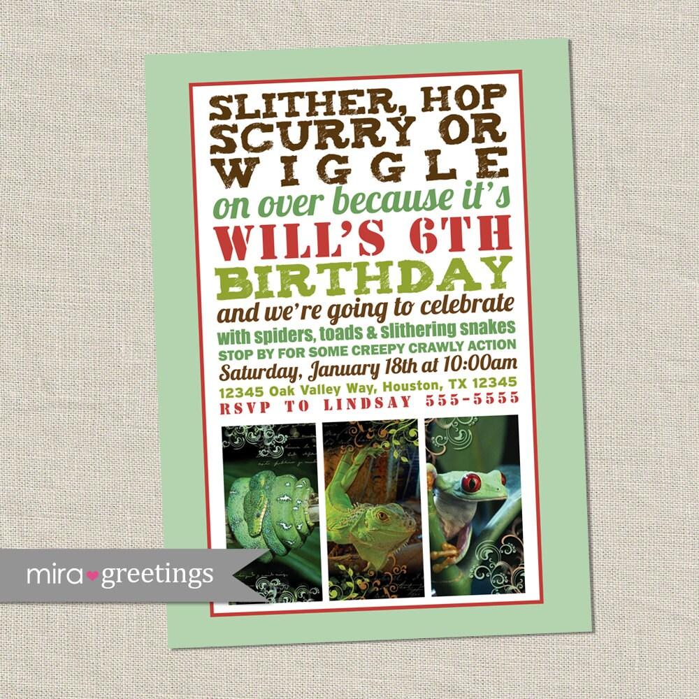 Reptile Birthday Party Invitation Invite Snake Lizard Frog