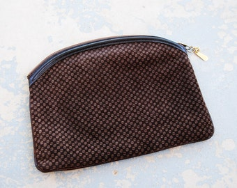 Clearance SALE vintage 70s Clutch - Brown Suede Yin Yang Printed Italian Leather Pouch
