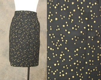 CLEARANCE vintage 80s Mini Skirt - 1980s Black and Gold Star Print Pencil Skirt Sz S