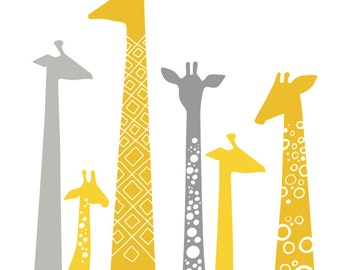 "16X20"" modern giraffe silhouettes giclée print on fine art paper. mustard,yellow and gray."