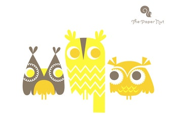 "SALE! 1/3 OFF. 8X10"" three owls giclee print on fine art paper. lemon and dandelion yellow and brown."