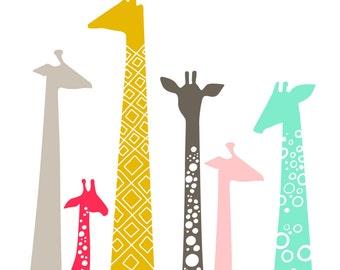 "8X10"" modern giraffe silhouettes giclee print on fine art paper. bright mint, pink, mustard, gray"