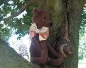 ON SALE**Simple Primitive  Shabby Bear Doll