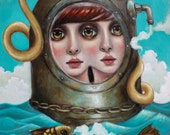 Twins. One of a kind original oil painting on canvas. Surreal nautical art.ON SALE