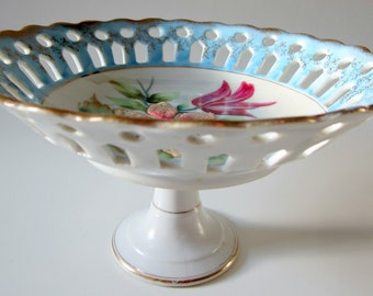 Porcelain Glass Compote Bowl  / Japan Gold Scalloped Candy Dish / Raised Enamel Beads / Floral Clematis