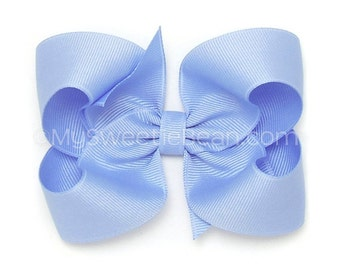 Blue Hair Bow, 4 inch Basic Bow, True Blue Boutique Bow, Classic Bow, No Slip Hair Bows, Baby Toddler Girl