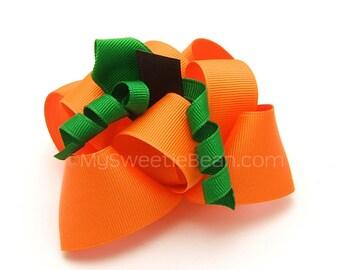 Pumpkin Bow for Toddler Girls, Pumpkin Hair Bow Fall Harvest Bow Children Holiday Orange Pumpkin Patch Bow MTM Gymboree 3D Pumpkin Sculpture