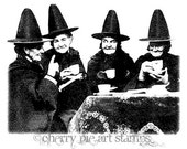 WITCHES TEA PARTY -Crones- CLiNG RuBBer STaMP by Cherry Pie Art Stamps