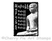BUDDHA POST- mail art - CLING rubber STAmP for acrylic block by Cherry Pie Art Stamps