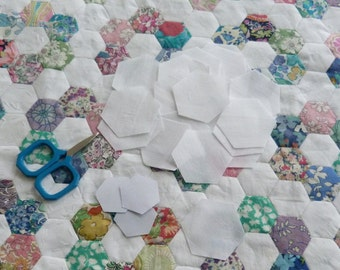 Mini hexagon starter pack WHITE - 100 die cut fabric hexagons and papers