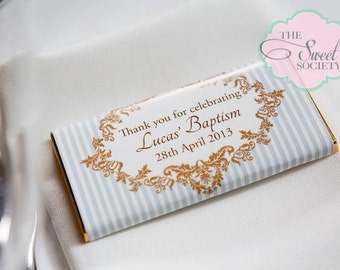 ORNATE BOY BAPTISM Party Printable Candy Bar Wrappers - Blue and Brown