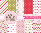 Pink & Red Valentines Day Digital Paper Set Holiday Digital Paper Graphics Hearts Arrows Chevron Stripes INSTANT DOWNLOAD