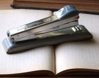 Stapler mid century, vintage office stapler, small metal stapler gray