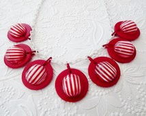 Lucite Necklace, Statement Necklace, Celluloid Red White Stripe, Unusual Vintage Costume Jewelry