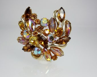 Juliana Rhinestone Brooch/Authentic Delizza and Elster Vintage Jewelry/Rhinestone Jewelry/1960's Jewelry